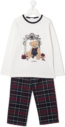 La Perla Kids Tartan Teddy Pyjama Set