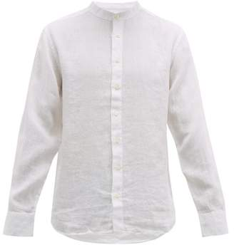 120% Lino Band Collar Slubbed-linen Poplin Shirt - Mens - White