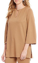 Preston & York Madge Ponte Keyhole Neck Blouse