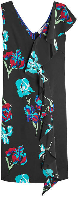 Diane von Furstenberg Printed Silk Dress with Ruffle