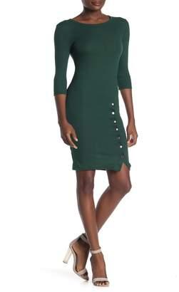 Velvet Torch Snap Slit Ribbed Sheath Dress