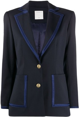 Sandro Paris Fitted Contrast-Trim Blazer