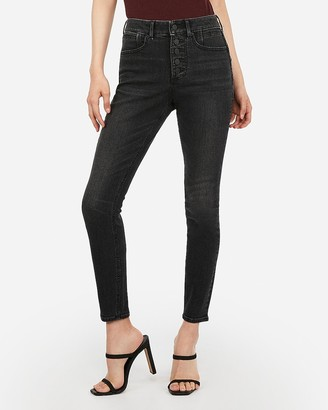 Express High Waisted Denim Perfect Curves Lift Black Button Fly Ankle Leggings