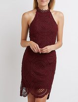 Charlotte Russe Crochet Mock Neck Bodycon Dress