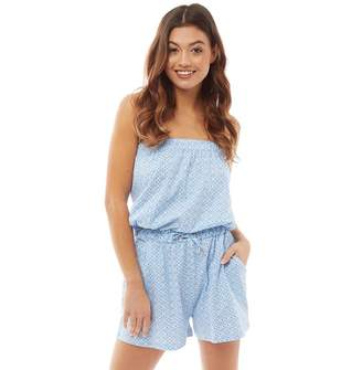 Board Angels Womens Jersey Tile Print Playsuit with Detachable Strap Blue/White
