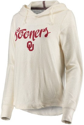 Women's Pressbox Cream Oklahoma Sooners Supersoft Cuddle Knit Pullover Hoodie