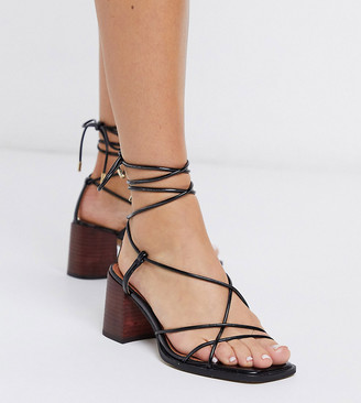 ASOS DESIGN Wide Fit Hideout block heeled minimal strap sandals in black