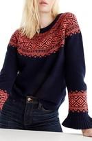 J.Crew Women's Fair Isle Ruffle Sleeve Sweater
