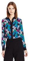 Anne Klein Women's Printed Button Down Blouse