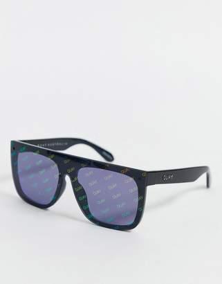 Quay x J Lo Jaded flat brow sunglasses in black