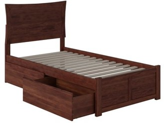 Atlantic Furniture Metro Twin Platform Bed with Flat Panel Foot Board and 2 Urban Bed Drawers in Walnut