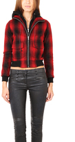 R 13 Plaid Zip Hoody Bomber