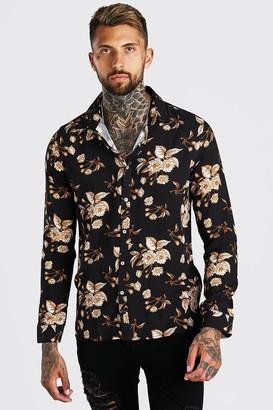 boohoo Mens Black Long Sleeve Floral Viscose Shirt, Black