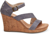 Toms Slate Blue Washed Twill Women's Clarissa Wedges