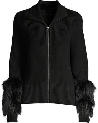 Elie Tahari Norah Silver Fox Fur & Merino-Wool Sweater