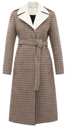 Chloé Contrast-lapel Checked Wool-blend Coat - Womens - Beige Multi