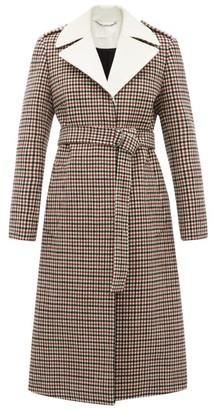 Chloé Contrast-lapel Checked Wool-blend Coat - Beige Multi