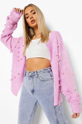 boohoo Soft Knit Pom Pom Cardigan