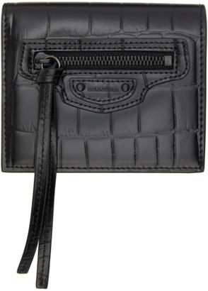 Balenciaga Black Croc Neo Classic Bifold Wallet