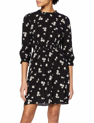 Dorothy Perkins Women's Black Daisy High Neck Shirred Waist Fit and Flare Dress 10