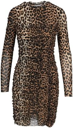 Ganni Ruched Leopard Print Mini Dress