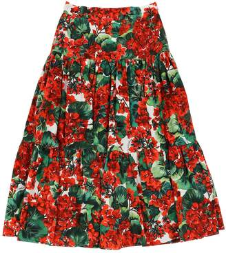Dolce & Gabbana LONG FLORAL PRINT COTTON POPLIN SKIRT
