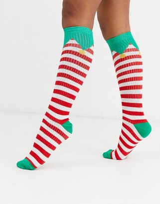 ASOS DESIGN Holidays elf knee high socks