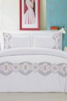 Melange Home Morocco Embroidered Duvet Set - White/Multi