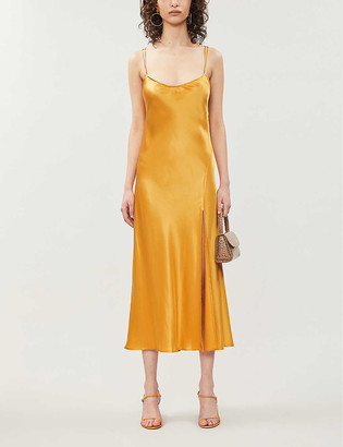Reformation Hamlet split-side silk-satin midi dress