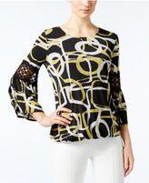 Alfani Crochet-Trim Blouson Top, Only at Macy's