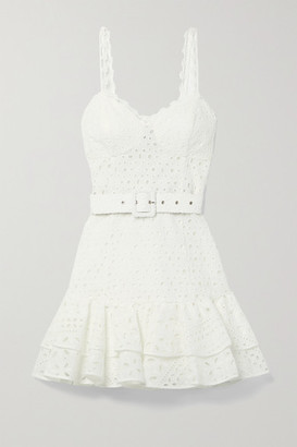 Charo Ruiz Ibiza Marianne Belted Ruffled Broderie Anglaise Cotton-blend Mini Dress - White