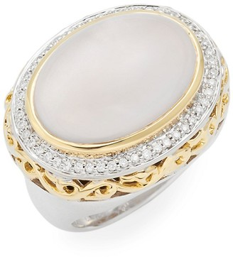 Charles Krypell Ivy Sterling Silver, 18K Yellow Gold, Diamond Pink Mother-Of-Pearl Ring