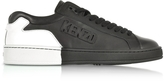 Kenzo Tennix Black and White Leather Low Top Sneakers