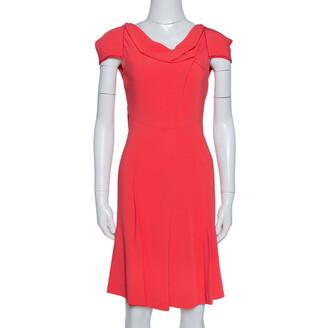 Roland Mouret Red Crepe Cowl Neck Knee Length Dress S