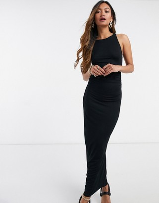 ASOS DESIGN racer neck ruched strappy back maxi dress in black