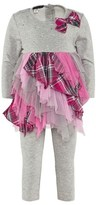 Kate Mack Biscotti Grey Jersey Dress with Pink Check Skirt and Grey Leggings Set