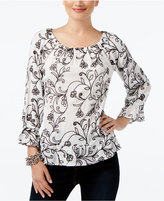 INC International Concepts Floral-Print Peasant Top, Created For Macy's