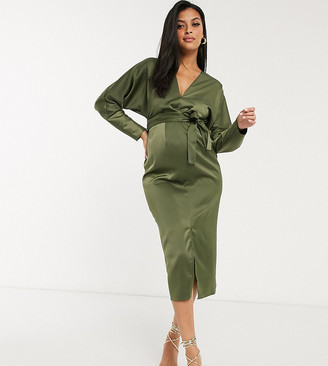 ASOS DESIGN Maternity midi dress with batwing sleeve and wrap waist in satin in khaki