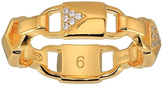 Michael Kors Precious Metal-Plated Sterling Silver Pave Mercer Link Ring (Gold) Ring