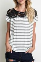 Umgee USA Striped Lace Top