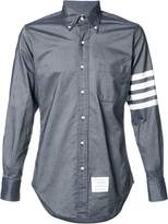 Thom Browne Long Sleeve Shirt With Woven 4-Bar Stripe In Dark Blue Oxford