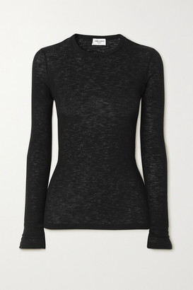 Saint Laurent Ribbed Cotton-jersey Top - Black