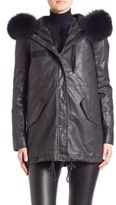 Alice + Olivia Tandy Two-In-One Hooded Parka & Fox Fur Vest