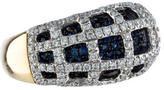Ring 18K Diamond & Sapphire Domed Cage