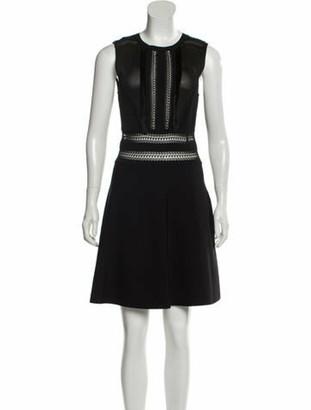 Valentino Fringe-Trimmed Knee-Length Dress w/ Tags Black