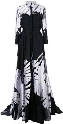 Carolina Herrera floral applique shirt gown