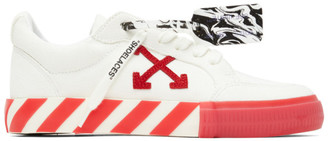 Off-White and Red Vulcanized Low Sneakers