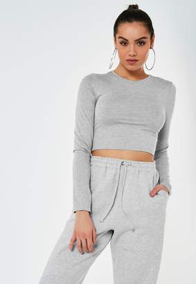 Missguided Grey Long Sleeve Crop Top