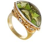Estate 18K Yellow & White Gold 0.30ct Diamond and Peridot Ring Size 7.25