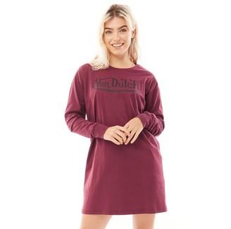 Von Dutch Womens V-Sinnita Long Sleeve T-Shirt Dress Burgundy/Black
